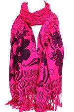 Hot Pink Roses & Polka Dots Pashmina Feel Wrap Scarf Shawl Hijab