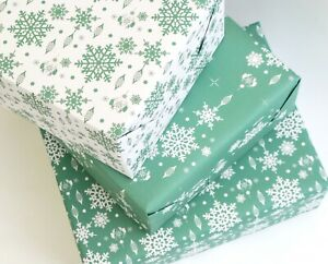 Recycled Wrapping Paper Eco friendly inks, Christmas Snowflake print dusky teal