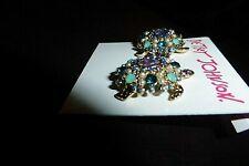 Betsey Johnson Gold Tone Jeweled Sea Turtles Rhinestones & Faux Pearls Studs