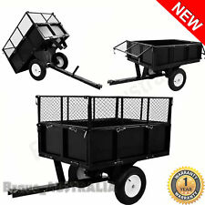 Garden Tipping Trolley Max 300kg Ride On Mower Cage Trailer Wagon Cart