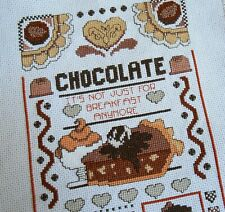 Chocolate Cross Stitch Sampler, Completed Design Ready to Frame, Chocoholic Diet