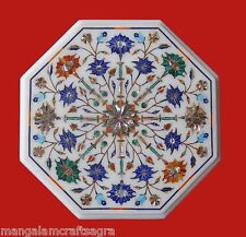 "18"" Marble Side Table Top Handmade Pietradura Craft Work For Home Decor"