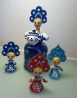 Russian wooden dolls - set of 4 - handmade in Moscow Russia - signed