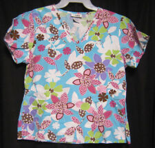 Small V Life Scrub Top Turquoise with White Green Purple and Calico Flowers
