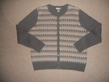 Womens Sweater-CROFT & BARROW-gray/beige houndstooth design cardigan ls-PXL