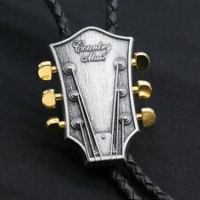 Artical Heart Original Western Cowboy Music theme Guitar head Bolo Tie Fashion