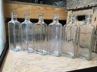 6 Vintage Glass Medicine Apothecary Bottles California Fig Syrup Bottle