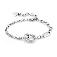 Edelstahl Damen Armband Kreis Herz Anhänger silber Steel Armkette Gravur Love