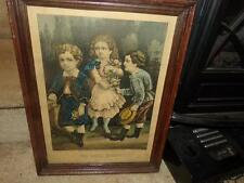 """VNTG. Antique Currier & Ives Litho. """"The Little Beauty"""" Hand-Colored EXQUISITE"""