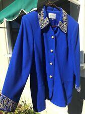 Vintage Nolan Miller Royal Blue Beaded SuitSz 16