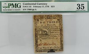 1776 COLONIAL CONTINENTAL CURRENCY $2/3 PMG 35 PHILADELPHIA Fr# CC-22 Two Third