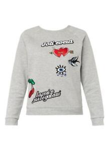 MAJE Grey Embroidered Diamante Embellished Grey Sweatshirt Pullover Top 2/AU8