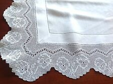 VINTAGE HAND CROCHET WHITE LINEN TABLE CLOTH 35X35 INCHES