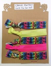 CHEER RAINBOW - Pony Tail Holder Elastic Hair Tie Accessory Set of 5