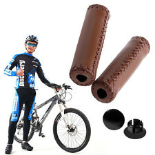 Stitched Leather BMX MTB Road Mountain Bike Bicycle Cycling Handlebar End Grips