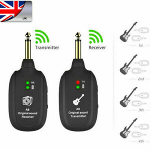 UHF Wireless Guitar System Transmitter & Receiver Rechargeable Battery 50M Range