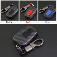 Carbon Fiber Shell+Silicone Cover Remote Key Holder Fob Case For Toyota Prado