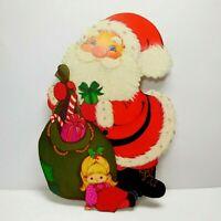Die-Cut Vintage Greeting Card Gift Tag Christmas Flocked Santa Claus Hallmark