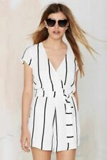 Lioness Roman Holiday XS White Black Stiped White V Neck Lined Romper Jumpsuit