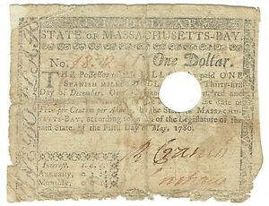 1780 Colonial Massachusetts Spanish Milled Dollar $1 FR-M278 Colonial Currency