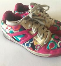 Coach Multi-color Outline Signature Sneakers Tennis Shoes Size 5 Pre-owned