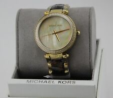 NEW AUTHENTIC MICHAEL KORS PARKER GOLD TORTOISE MOP CRYSTALS WOMENS MK6518 WATCH