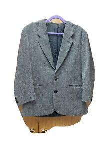 Men's Black & Grey Woollen Jacket From Classics At Debenhams Fit 36in Chest VGC