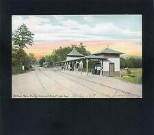 postcard Trolley Railroad Station Depot at Forest Lake Park Palmer MASSACHUSETTS