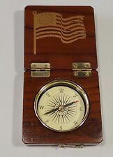 Compass Wood Hinged Box Case Betsy Ross Flag Euc