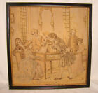 """Antique French Framed Tapestry 19""""x19"""" Victorian Courting Scene Piano Padded #5"""