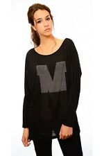 Miranda Round Neckline Relaxed Fit Oversized Tee Black - Made in Italy IA-0477