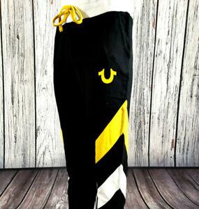 Men's True Religion Sweatpants in Black Yellow White Cotton Joggers Track Pants
