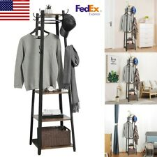 Home Coat Rack Entryway Clothes Laundry Coat Hat Stand With 8 Hook 3 Shelves