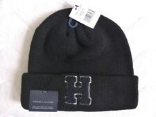 TOMMY HILFIGER Black 'H' Chunky Beanie Hat Toque Tags OSFA New Tags