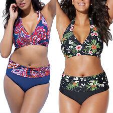 Plus Size Womens Boho High Waist Bikini Set Push Up Padded Swimsuit Swimwear UK