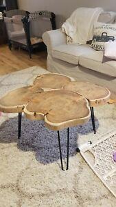 Live edge cocktail table acacia wood