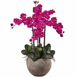 Nearly Natural Phalaenopsis Orchid Arrangement w/Sand Colored Bowl Beauty