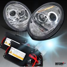 For 1998-2005 VW Beetle Halo Clear Projector Headlights Lamps+H1 6000K HID Kit