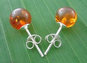 100% 925 sterling silver 7mm round Honey Amber studs Earrings GIRL WOMEN