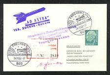 1962 GERMANY rocket mail - rocket 123 - Zucker signed - EZ 56C1