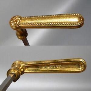 "Set of Vintage French Bronze Door Handles, Signed ""L.B. Paris"""