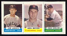 1962 Bazooka Baseball Complete 3-card Panel with Ken Boyer. Full Borders