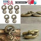5PC Copper Bronze Retro Snake Statue Handmade Keychain Pendant Crafts Decor Gift