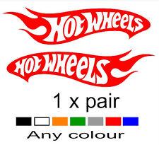 HOT WHEELS stickers x2  any colour. 4x4 truck mx unit windscreen ute drag drift