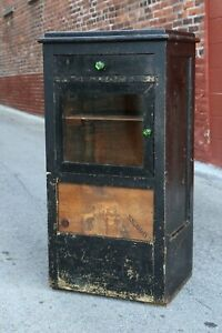 Antique Medical Cabinet Apothecary Dental Cupboard Gothic Glass Display Case old