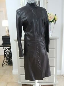 Bdg Urban Outfitters 100% Leather Long Coat  Brown Zip Steam punk S 12-14 large.