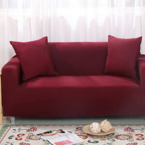 Sofa Cover Pure Color Pattern Washable Stretch Elastic Couch Cover 1-4 Seater
