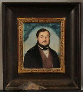 19thC Antique Signed F. F. Sacco 1840 Miniature Portrait Painting Gaetano Ciauri