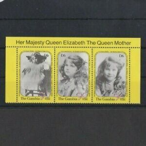 Gambia 1990 90th Birthday Queen Mother strip set MNH per scan