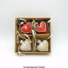 GLASS HEART CHRISTMAS / VALENTINE ORNAMENTS (Box of 4)